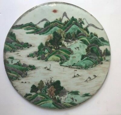 Fine Old Antique Chinese Hand Painted Porcelain Famille Verte Landscape Plaque
