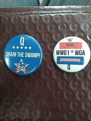 Get 2 Trump Wwg1Wga Maga Q Color Buttons Made In Usa Drain The Swamp Maga