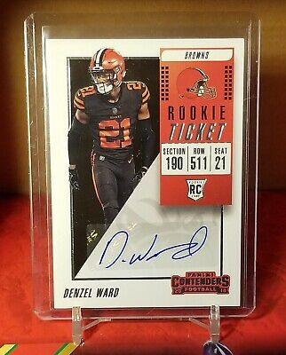 2018 Panini Contenders Football Rookie Auto Denzel Ward RC Autograph