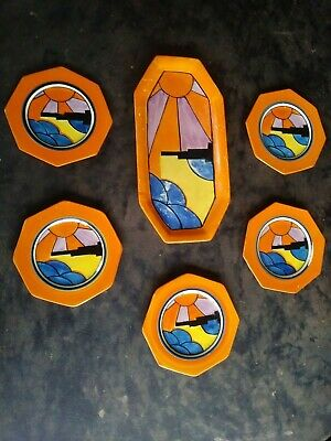 Set of 6 Clarice Cliff Bizarre Picasso Style Serving Dishes / Original