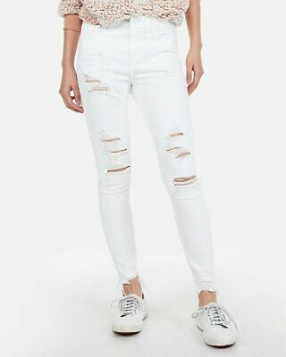 9826ec8a18e13 New Express White Mid Rise Ripped Stretch Jean Ankle Leggings Jeans 0R 0