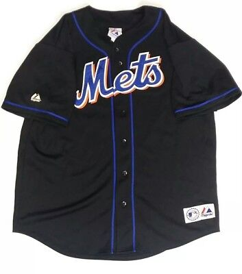 Majestic MLB New York Mets Mike Piazza Black Jersey Stitched Men's Size XL