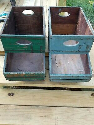 Lot Of Two Wood Tote~Caddy~Tool Box~Vintage~Primitive~Green Paint Antique