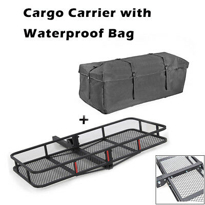 Hitch Mounted Cargo Carrier Hauler Luggage Basket & Waterproof Oxford Fabric Bag