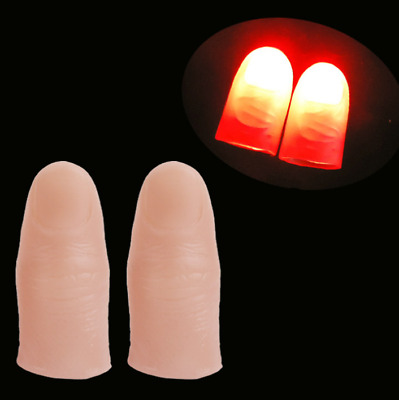 2 x Magic Light Up Thumb Props Fingers LED Trick Finger Lights Novel Powered
