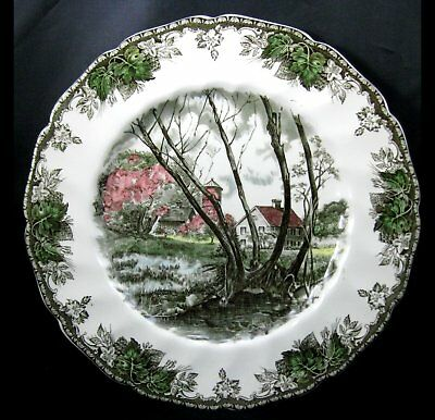 Johnson Bros Friendly Village Large Dinner Plate Willow Brook AS IS More Avail
