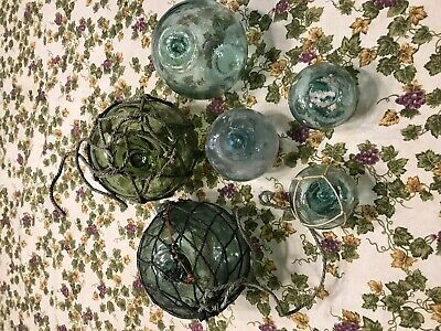 Vintage Japanese Glass Fishing Float Package 8 floats (box #C)