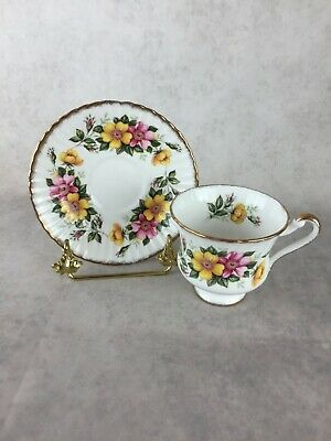 PARAGON Teacup and Saucer - Pink and Yellow Roses