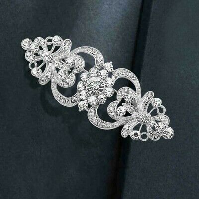 Art Deco Vintage Inspired Silver Plated White Crystal Fashion Statement Brooch