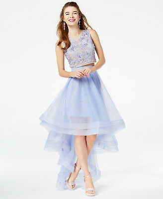 488100c3333 Macy s Say Yes to the Prom Size 11 Tulle High-Low Prom Dress Light Blue