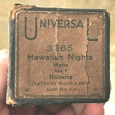 "Universal Player Piano Roll  ""Hawaiian Nights"" No.3365 Good Condition."