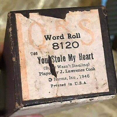 "QRS Player Piano Roll ""You Stole My Heart""  No. 8120  Good Condition!"