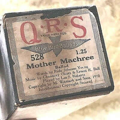 "QRS Player Piano Roll Blue Bird Ballads ""Mother Machree"" No.528 Good Condition."