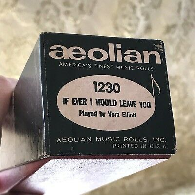 "Aeolian Player Piano Roll "" If Ever I Would Leave You"" No.1230  Good Condition!"