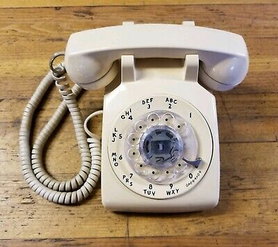 VINTAGE Rotary Metal Dial Phone Desk Telephone • Ivory White Western Bell • ☆USA