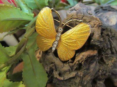 Vintage Gold tone Yellow Enamel CAROLEE signed Butterfly  Pin Brooch