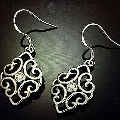 New Crystal Scroll Drop Earrings 925 Sterling Silver FREE 1-DAY SHIP