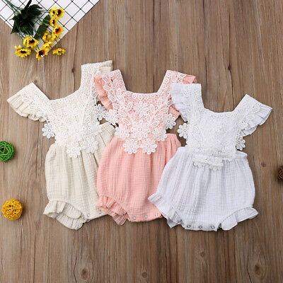 Newborn Baby Girl Lace Backless  Romper Jumpsuit Bodysuit Clothes Outfit Summer
