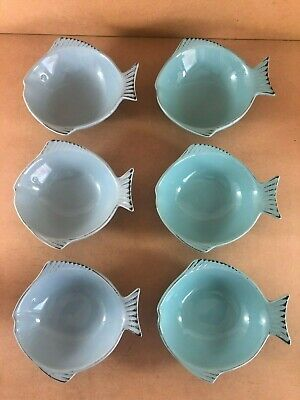 Vintage Bowls, Fish Shaped, Blue And Aqua, China, Set Of 6