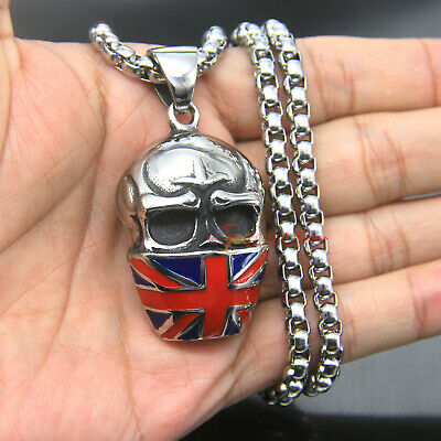 416934ba8159 Large Men s Stainless Steel UK British Union Flag Skull Mask Pendant  Necklace