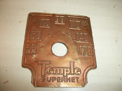 Vintage Temple Superhet Tube Radio Dial Face Place Part Only
