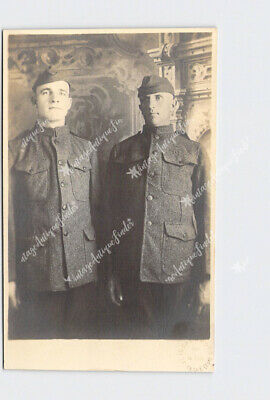 Rppc Real Photo Postcard Ww1 Soldiers Marine Core? In Uniform Portrait