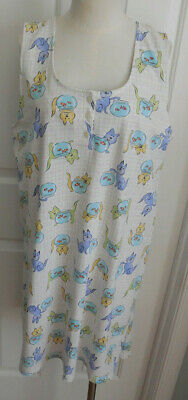fbe426dfb4 NWOT WHITE w COLORFUL CATS EARTH ANGELS WOMEN S SLEEVELESS COTTON NIGHTGOWN  L