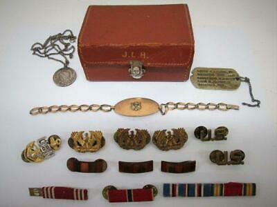 RARE WWII Lot Personal Items: ID Bracelet, Sterling Pendant, Case + MARSHALL, TX