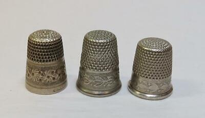 3 Antique Vintage Nickel Silver Thimbles - England Germany & Simons SBC