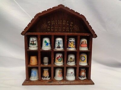 Vintage Travel Souvenir 15 Thimble Country Rack Bush Gulf War Ivory Holland Anri