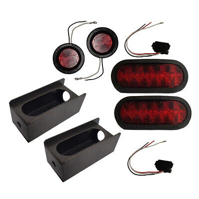 """LED Trailer (Truck) Steel Housing Box w/ 6"""" OVAL Tail Light and 2"""" Marker Light"""