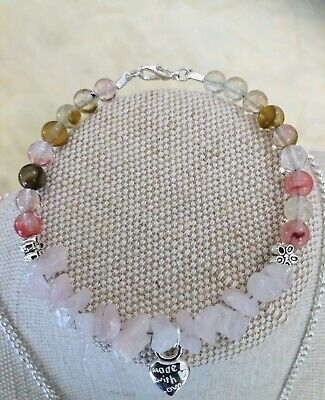 Love and Positivity, Tourmaline and Rose Quartz Bracelet