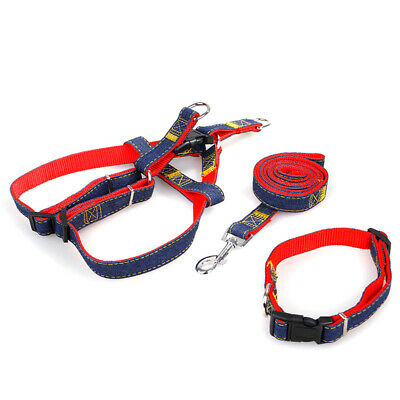 3pcs / Set Denim Heavy Duty Pet Chien Collier Leash Harnais Réglable 1.2m M6X1