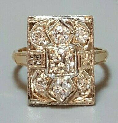 14K Yellow Gold with a White Top Antique Diamond Ring with 3/4 Cts. Total Weight