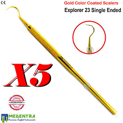 Endodontic Explorer 23 Dental Diagnostic Plaque Remover Scalers Gold Coated 5PCS