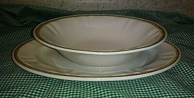 2PC Hearthside Heritage American Serving Set Oval Platter Round Veggie Bowl EXC