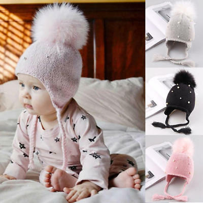 Girl's Baby Hat Pearl Beanie Hat Winter Warm Pom Bobble Cap Tie Ear Protection
