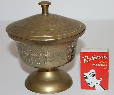 Brass Lidded Bowl Footed Dish Lid Etched Feathers Floral Storage Unique Vintage