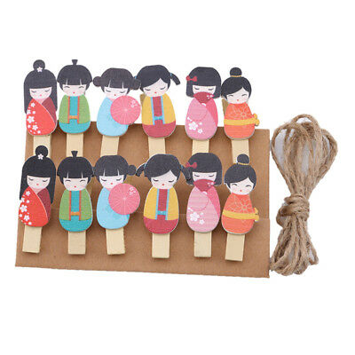 Cartoon Wooden Clips Wood Photo Paper Clips Wood Peg Pin Clothespins N7