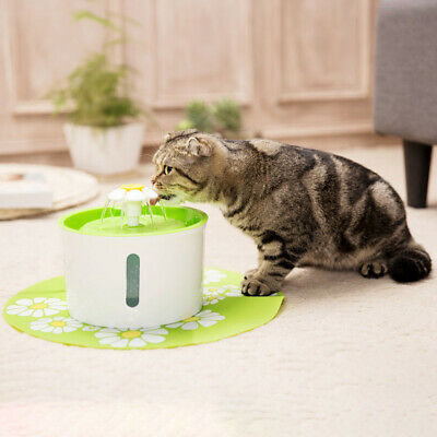 Flower Automatic Electric Pet Dog Water Fountain Cat Drinking Bowl AU Plug 1.6L