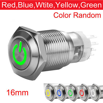 16mm Green On Off LED 12V Latching Push Button Power Switch Waterproof K1X5