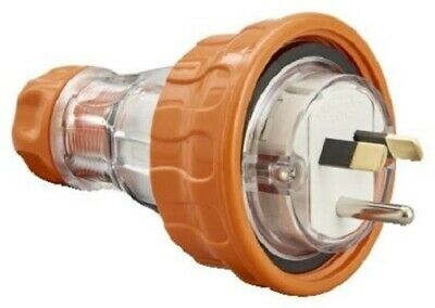 Clipsal STRAIGHT PLUG 10A 250V 1Phase 2xFlat & 1xRound Earth Pin,Electric Orange