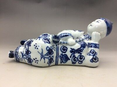 Chinese blue and white porcelain hand-carved old man...