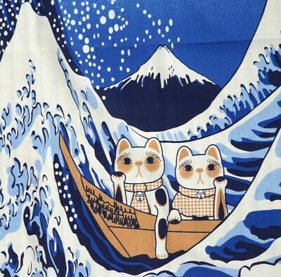 "Tenugui Japanese Traditional Cotton Cloth 35x90cm (13"" x 35"")Manekineko cat_Wave"
