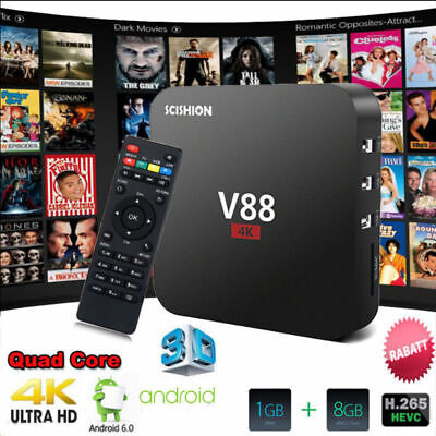 V88 MXQ-4k Smart TV Box RK3229 Quadcore 4K Wifi Full HD 1GB 8GB Android 6.0