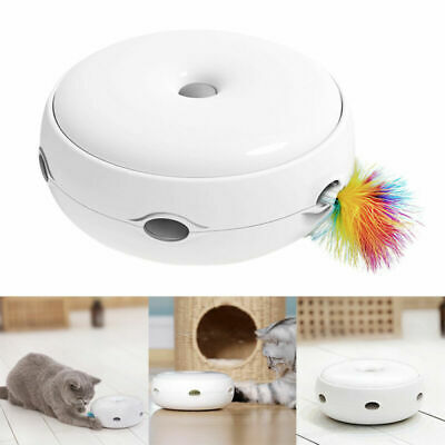 Electric Pet Cat Toy Smart Teaser Interactive Kitten Rotating Design Fun Gift AU