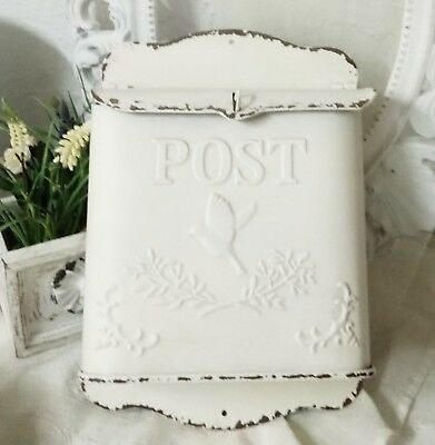 Mailbox post Shabby Chic Vintage Metal Cream Bird