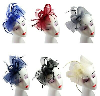 Ladies Wedding Fascinator Feather Aliceband Hat Hair Band Race Royal Ascot uk