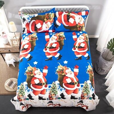 Christmas Doona Duvet Quilt Covers Set King Size Bed Pillow Case Bedding Set New