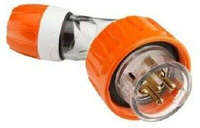 Clipsal INDUSTRIAL ANGLE PLUG 500V 5-Round Pins, Electric Orange- 20A Or 32A